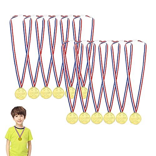 12pcs Gewinner Medaillen Gold,Goldmedaillen für Kinder,Medaillen Kindergeburtstag,Medaillen Metall,Gold Medaillen Kinder,Kinder Medaille,Medaillen Fussball,für Kinder Sport Party, Wettbewerb, Preise