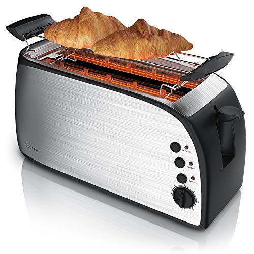 Arendo - Automatik Toaster Langschlitz - Defrost Funktion - wärmeisolierendes Gehäuse - Abnehmbarer Brötchenaufsatz - 1200W-1500W - 7 Stufen - herausziehbare Krümelschublade