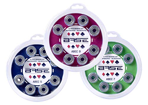 BASE - ABEC 9 Kugellager Bearings inkl. Blister-Verpackung I einfache Montage I ABEC 9 I Kugellager für Inliner & Rollerblades I Standard-Kugellager 608Zz I farblos - 16 Stück