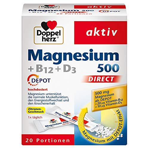 Doppelherz Magnesium 500 + B12 + D3 DIRECT DEPOT – Magnesium für die normale Funktion der Muskeln und des Nervensystems – 1 x 20 Portionsbeutel