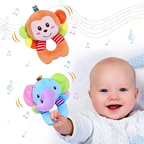 Vacoulery Greifling zum Rasseln 2 Stück Baby Rasseln Spielzeug Cartoon Tier Rassel Weiche Stoff mit Klingel Sensorisches Spielzeug Developmental Stuffed Toys für Kinder Jungen Mädchen 0 1 2 3 4 5 6