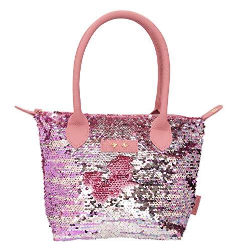 Depesche 10210 - Handtasche mit Pailletten Trend Love, mauve