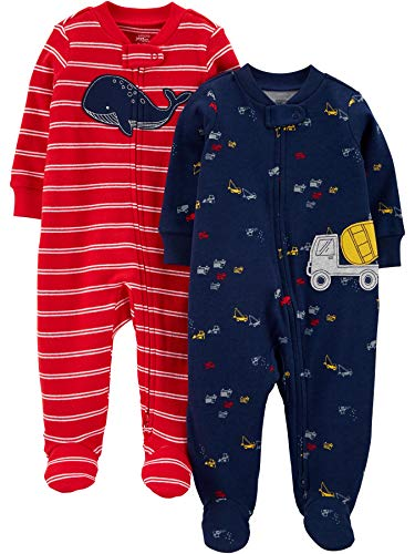 Simple Joys by Carter's 2-Pack Cotton Footed Sleep and Play Baby-und Kleinkindschläfer, Rot/Marineblau, Wal, 6-9 Monate, 2er-Pack