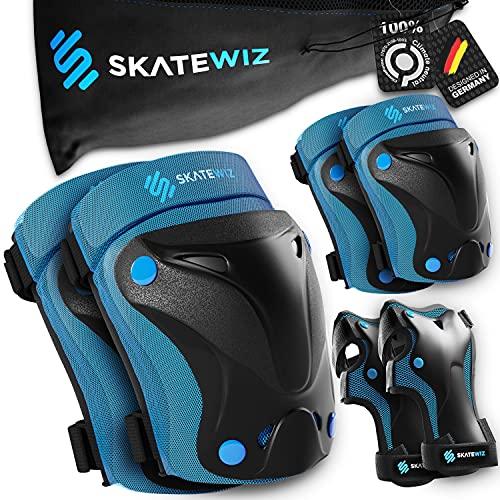SKATEWIZ Protect-1 Protektoren Set Erwachsene - Größe M in BLAU - Schützer Inliner - Knie und Ellenbogenschützer Erwachsene