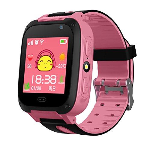 Wasserdicht Touchscreen GPS Tracker SMART Handy Uhr mit Schrittzähler Kamera sim Antiverlust SOS Armband Smartwatch für Kinder Geburtstag Geschenke, rosa