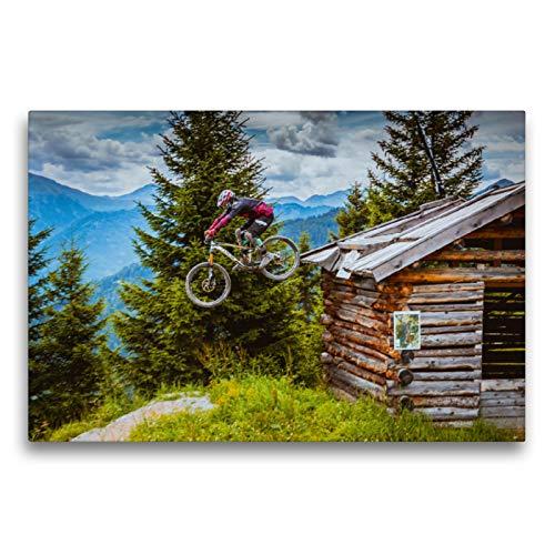 CALVENDO Premium Textil-Leinwand 75 x 50 cm Quer-Format Downhill Action, Leinwanddruck von Dirk Meutzner