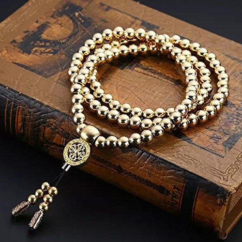 Daaseefee Full Steel Self Defence 108 Buddha Beads Bracelet Necklace Chain Stainless Steel Outdoor Titanium Steel Metal Whip Self Defense Accessories