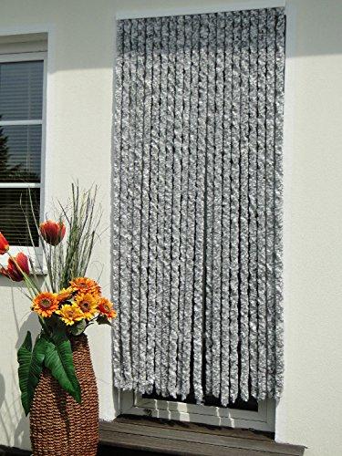 Chenille, Vlies, Türvorhang, 90 x 200 cm, Silber, weiß