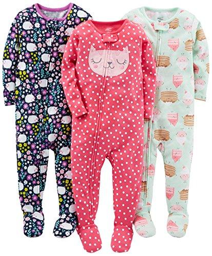 Simple Joys by Carter's Baby und Kleinkind Mädchen Schlafanzug mit Fuß, Baumwolle, 3er-Pack ,Sweets/Floral/Kitty ,3T