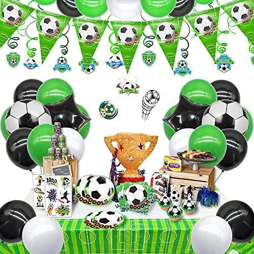 Zu den Fußballgeburtstagsdekorationen gehörten Fußball-Geburtstagsballons für den Spieltag, alles Gute zum Geburtstag und die Fußballw