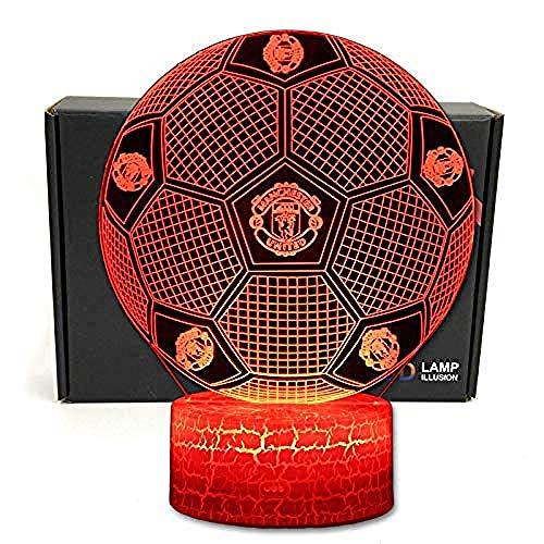 Fußball Form 3D Illusion D Optische Smart 7 Farben Led Tischlampe Nachtlicht Und Kabel D Netzteil Usb Für Manchester United Fußballfans