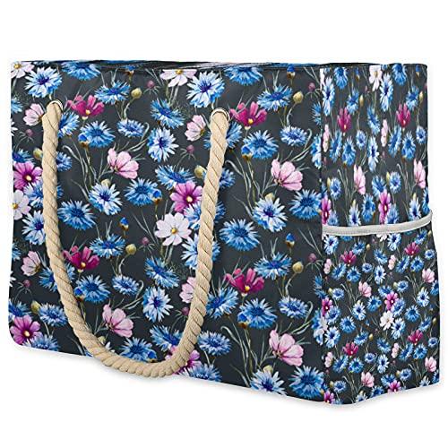 Sommer-Strandtasche für Damen, Gänseblümchen, Gras, wasserdicht, hohe Kapazität, reißfest, Handreise-Tasche mit 2 Seitentaschen für Fitnessstudio, Strand, Reisen, Pool, Yoga, Urlaub, Spaß