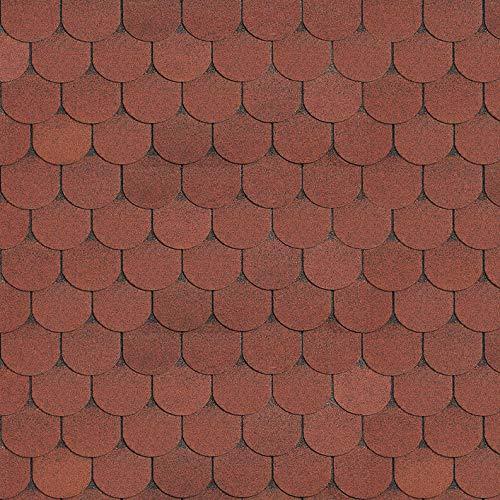 doitBau PREMIUM Bitumen Dachschindeln - Dachpappe Selbstklebend für 3m² Dachfläche in Farbe: Ziegelrot - 21 Stück | Biberschwanz Schindeln geeignet für Vogelhaus & Gartenhaus