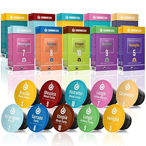 Gourmesso Testbox - 100 Nespresso kompatible Kaffeekapseln – Fairtrade – 10 verschiedene Sorten