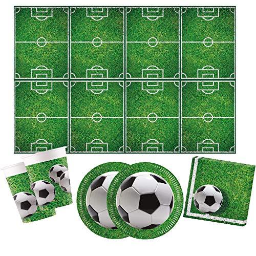 Procos 10110948 - Partyset Fußball S, 53-teilges Set, 16 Teller, 16 Becher, 20 Servietten, 1 Tischdecke, Einweggeschirr, Dekoration