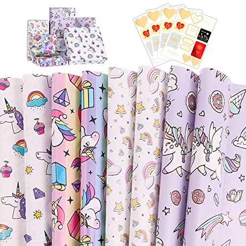 ALTcompluser 8 Blatt Geschenkpapier Kinder Einhorn Set Geschenk Papier Geschenkpapier Geburtstag Wrapping Paper mit 4 Aufklebern Mädchen Junge Weihnachten Geschenkverpackung Geburtstag(70 x 50cm)