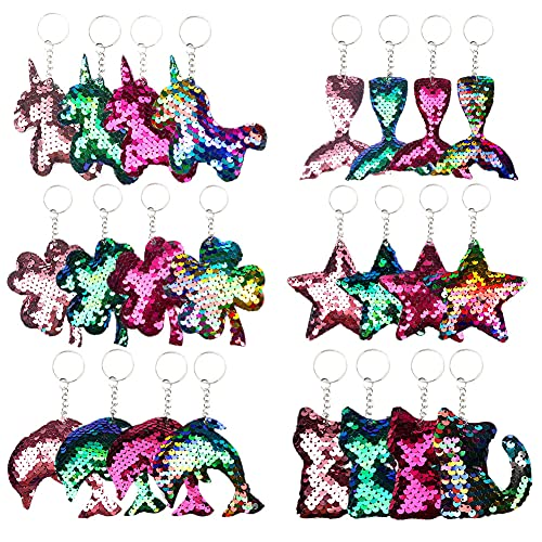Dsaren 24 Stücke Pailletten Schlüsselanhänger Reversible Reversible Handtasche Anhänger mit Einhorn Meerjungfrau Schwanz Katze Delphin Sternform für Kinder Geburtstagsfeier Party Favors